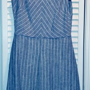 J. Crew Blue and White Pinstripe Dress Size 4